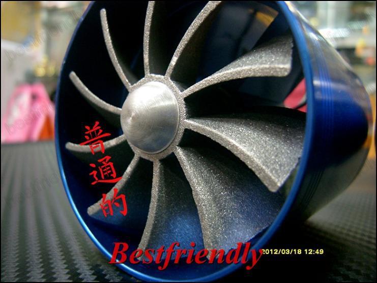 Supercharger F1-Z Entrada De Ar Turbocharger Turbo Duplo Ventilador De Gás De Economia De Combustível Hélice Dupla
