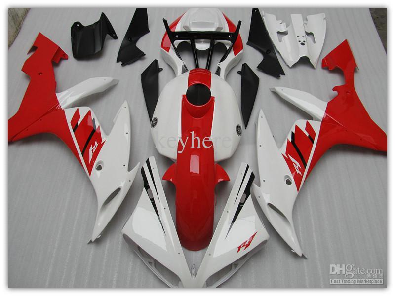 Kit de carénage complet blanc / rouge pour YAMAHA 2004 2005 2006 YZF R1 YZF-R1 YZFR1 04 05 06 carénages