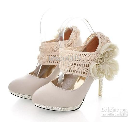 Sell2012 New Womens High Heels Cream Colored Bride Shoes Dress