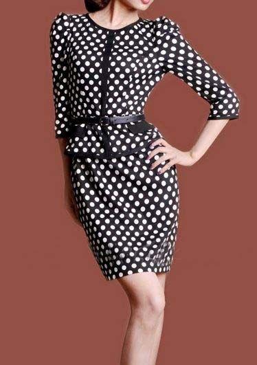 Fashion Dresses A100 Retro elegant black and white dots self cocktail dress