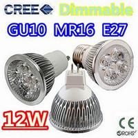 Wholesale Led Bulbs Wholesale China - 10pcs lot High power CREE 9W 12W 15W Dimmable GU10 MR16 E27 E14 B22 B22 GU5.3 Led Light Lamp Spotlight led bulb Free China post air mail