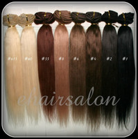"Wholesale Indian Remy Straight Hair Styles - 70g 16"" 18"" 20"" 22"" 26"" Customized remy Clip in human hair extension any color, any hair style 10 sets lot DHL free shipping"