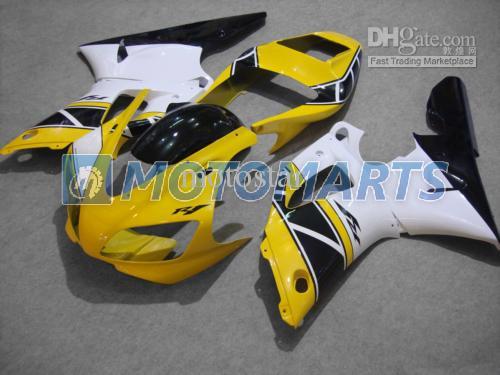 사용자 정의 노란색 흰색 오토바이 페어링 키트 야마하 YZF R1 1998 1999 YZFR1 98 99 YZF-R1 98-99 YZF1000 페어링 부품