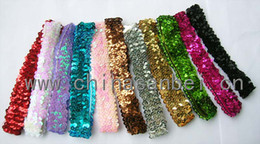 Wholesale Wholesale Track Hair - Wholesale 100pcs lot Stretch Sparkle Sequin Headband Team Softball Basketball Volleyball Soccer Track Hair Accessories JD-47