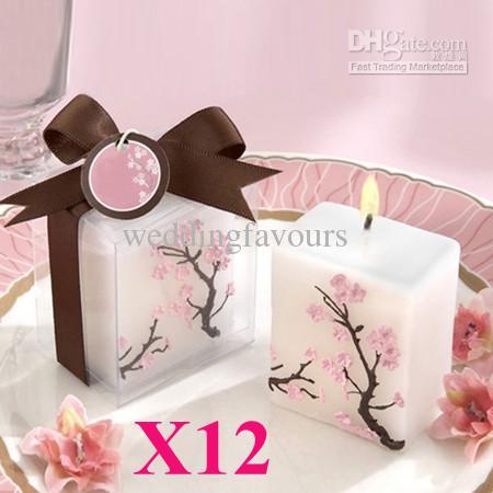 Envío gratis, / Nice Cherry Blossom Candle con caja de regalo para boda / fiesta, favores de la boda