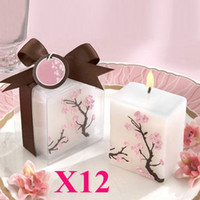 favores de cereza al por mayor-Envío gratis, 12pcs / lot Nice Cherry Blossom Candle con caja de regalo para boda / fiesta, favores de la boda
