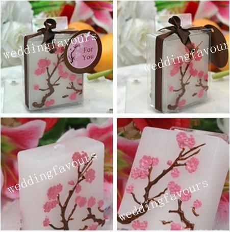Livraison gratuite, belle bougie de fleur de cerisier / avec boîte-cadeau pour mariage / fête, faveurs de mariage
