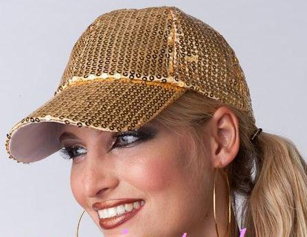 hombres y mujeres de moda con lentejuelas gorra de rendimiento de béisbol