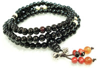 Wholesale Tibetan Wrist Beads - Ebony Santalumalbum Red Agate Tibetan Buddhist 6mm x 108 Prayer Beads Bracelet Wrist Mala