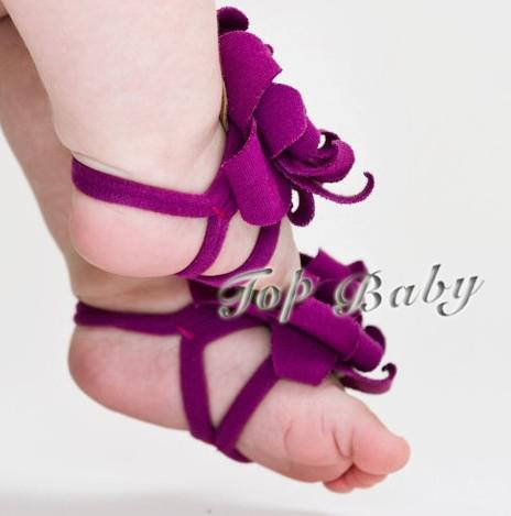 Overstock bas prix TOP BABY Sandals bébé sandales aux pieds nus fleur chaussures 20 PCS (10 paires)