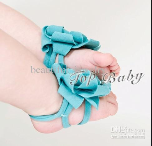 40pairs (80pcs) baby 샌들 / 아기 소녀 Barefoot 샌들 소년 빨간 아기 신발 유아 신발