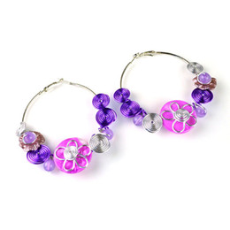 Charms Wire Wrapping Australia - purple wire wrapped women beach earrings,3pairs lot,hot selling in Australia,ER-563