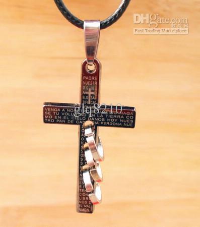 Lederen Bijbel Cross Hanger Titanium Rvs Kettingen Ring Circle Stylish Unisex Mannen 20PCS