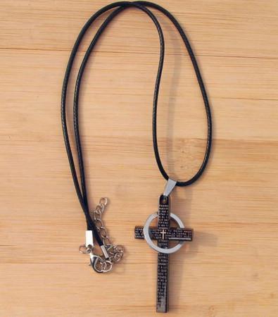 Ny läderband Titan Rostfritt stål Bibelkors Halsband med Ring Mäns Unisex Mix Order24PCS