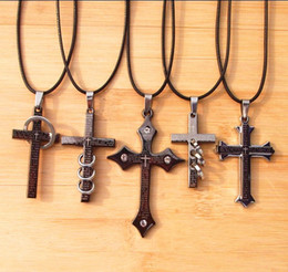 Wholesale Titanium Stainless Steel Cross Pendant - New Leather Cord Titanium Stainless Steel Bible Cross Necklace With Ring Men's Unisex Mix Order24pcs
