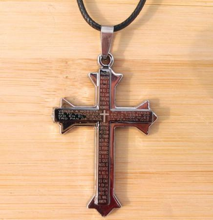 Novo cabo de couro titanium aço inoxidável bíblia cruz colar com anel dos homens unisex mix order24pcs