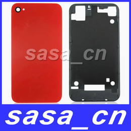 Wholesale Iphone 4s Glass Frame - Glass Housing Back Cover Assembly Battery Door Replacement With Holder Frame for iPhone 4S 4GS