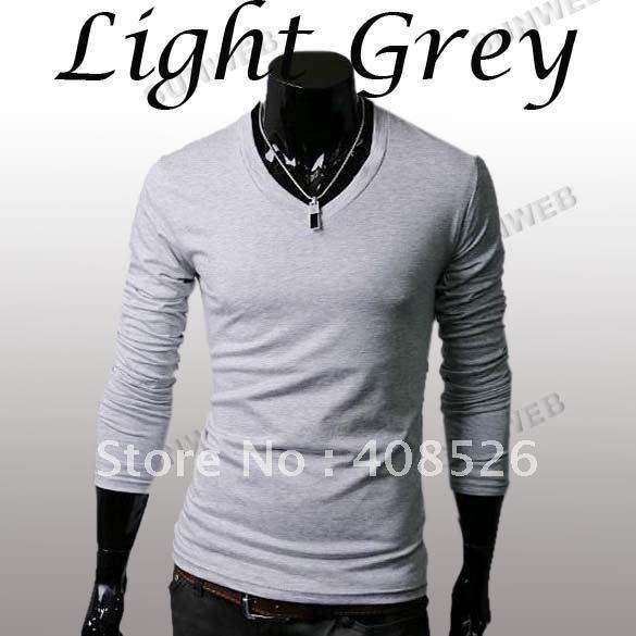 Мужские футболки Slim Fit Solid Color Стильные футболки с длинным рукавом с V-образным вырезом Майки M / L / XL Светло-серый