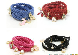 Wholesale Braided Leather Belts Wholesale - Latest rope braided leather bracelet girl's women's jewelry steel bracelets bangles waistband belt