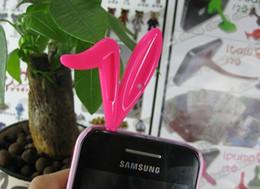 Wholesale Rabbit Iphone 4s - 10pcs lot Cute Rabbit Ear Jack Dustproof Plug For iPhone 3 4 4S, Bunny Jack for iphone