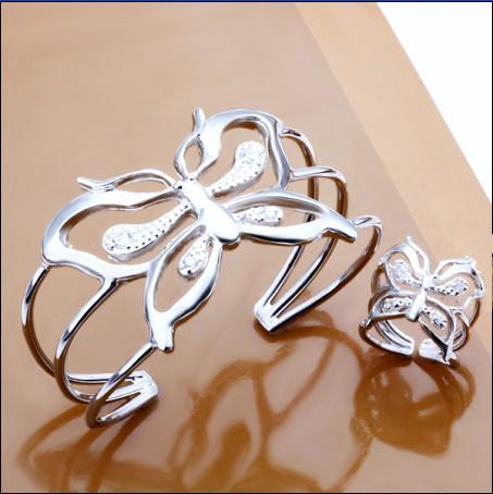 Hot New Fashion 925 Silver Biżuteria Urok Pierścienie Butterfly Bangles Zestaw Z Cyrkon Darmowa Wysyłka 5 Zestaw