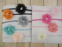 Wholesale Chiffon Shabby Flowers Pearl - Trial order Shabby Chiffon Flowers Headband Matching Two Pearl Sparking Rhinestone Tulle Flowers Newborn Photography Props 40pcs lot