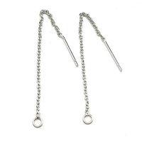 ingrosso catena di filo d'argento-20 pz 925 Sterling Silver Orecchino Wire Chains Risultati Componenti Per Gioielli FAI DA TE Gioielli 0.8X1.3X60mm WP224 * Spedizione Gratuita