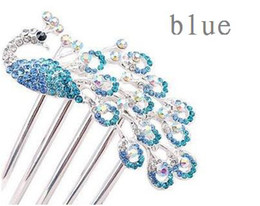 Wholesale beauty pageant accessories - Fashion Rhinestone Wedding Jewelry Accessory Pageant Beauty Contest Peacock Comb Headwear Hair Pin