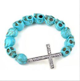Wholesale Wholesale Howlite Skull Bead - Howlite Skull Bracelet Turquoise Sideways CROSS Skull Beads Bracelets Blue Color