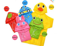 Wholesale Raincoat Rubber - New Lovely Cartoon animal style children raincoat  poncho Children's Poncho