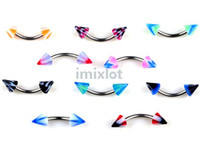 Wholesale Eyebrow Piercing 18g - Fashion Curved Eyebrow Jewelry Eyebrow Rings 18g 100X Imixlot Body Piercing Jewelry Unisex Free Shipping[BA12*100]