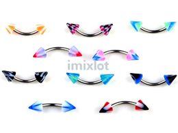 Wholesale Acrylic Fashion Jewelry - Fashion Curved Eyebrow Jewelry Eyebrow Rings 18g 100X Imixlot Body Piercing Jewelry Unisex Free Shipping[BA12*100]