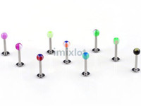 Wholesale Acrylic Labret Rings - 3mm Ball Stainless Steel Labret Lip Bar Rings Stud Ear Piercing Body Jewelry 19G Tragus Helix Bar Wholesale[BA14*100]