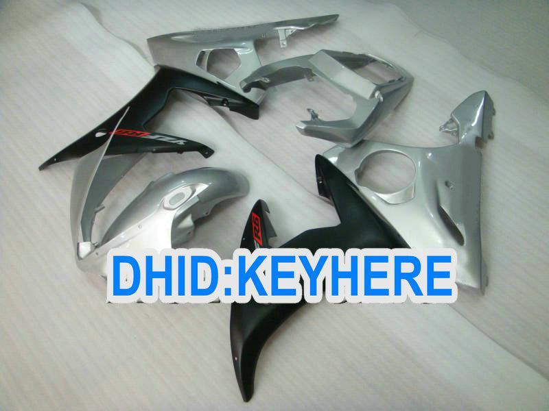 YNL118 ABS Prata carenagem kits para YAMAHA YZF R6 2003 2004 YZF-R6 03 04 YZFR6 03 04, pode personalizar