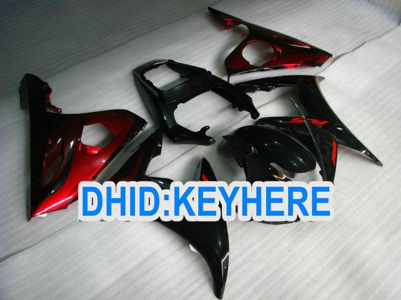 Personalize o Conjunto completo de kits de carenagem pretos VERMELHO da Chama para YAMAHA YZF R6 03-04 YZF-R6 2003 2004 YZFR6 03 04