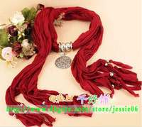 Wholesale Embellished Pendants - Newest Scarf with jewelry Women's Girl's pendant scarves fashion Elegant Fringed design scarves