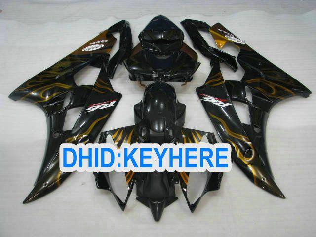 Gouden vlam in zwarte kuipet voor Yamaha 2006 2007 YZF-R6 YZF 600R YZF R6 06 07 Valvormen Bodykit
