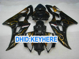 Wholesale Yamaha R6 Gold - Gold flame in black fairing kit for YAMAHA 2006 2007 YZF-R6 YZF 600R YZF R6 06 07 fairings bodykit