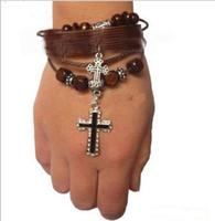 Wholesale Wholesale Adjustable Leather Bracelets Buckle - Wholesale- Leather cuff Bracelet  Adjustable Buckle Bracelet with cross charm bracelet qn1
