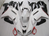 Wholesale Zx6r White Red - Black white red full fairing kit FOR kawasaki ninja ZX6R ZX-6R 636 07 08 ZX 6R 07-08 ZX-6 2007 2008