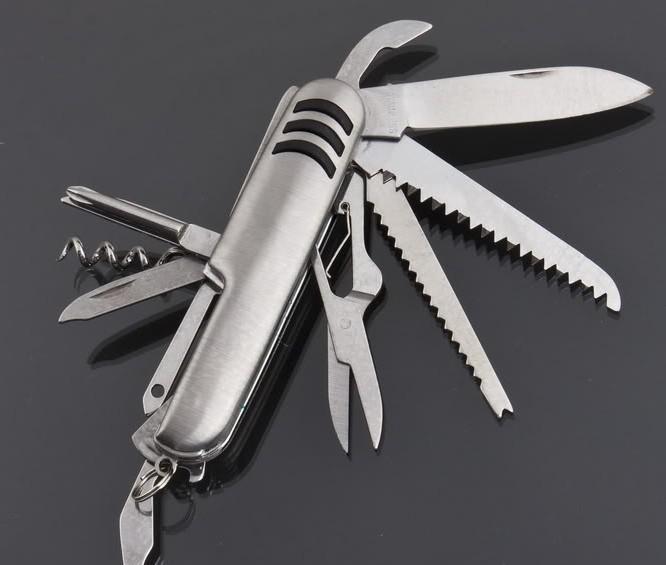 11 IN 1 Edelstahl Multifunktionswerkzeug Swiss Style Army Knife Multifunktionsmesser Notfallwerkzeug