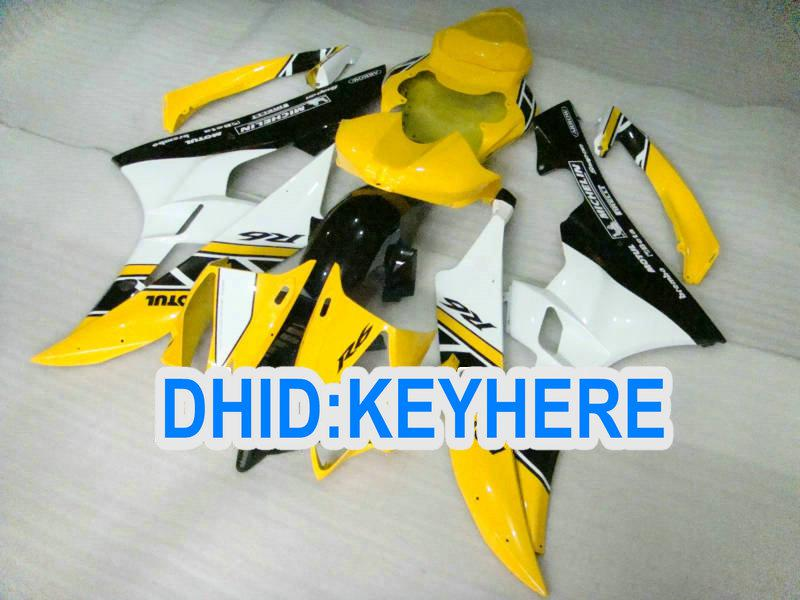 ABS Light Yellow Racing Fairing Kit för Yamaha YZF-R6 2006 2007 YZF 600 YZF R6 06-07 Bodywork Part