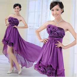 Wholesale Korean Brides Dresses - Korean bridesmaids bride wedding dress Short purple strapless gown evening dress red Tube Dress