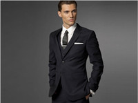 Wholesale Navy Pant Suit - Custom made Men Fashion Business suit Men navy stripe Three-piece Suit ( jacket + pants + vest )