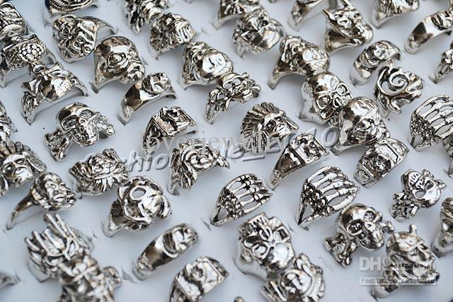 FREE Best Price Rings lot skull carved biker men silver Plated Alloy Ring Fashion jewelry 50pcs