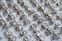 meilleur prix bague en argent achat en gros de-GRATUIT meilleur prix anneaux beaucoup crâne sculpté motard hommes argent plaqué alliage anneau bijoux de mode 50pcs