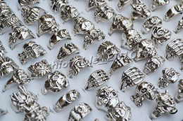 Wholesale Silver Skull Ring Alloy - FREE Best Price Rings lot skull carved biker men silver Plated Alloy Ring Fashion jewelry 50pcs