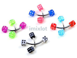 Wholesale Body Piercing Tragus - 100pcs Hot Dice Eyebrow Jewelry 100X Imixlot Tragus Barbell Rings Jewelry Body Piercing Jewelry free Ship [BA20*100]