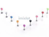 Wholesale body piercing tragus - New Lip Piercing 100X 3mm Dice Tragus Labret Imixlot Fashion Body Piercing Jewelry Free Shipping[BA21*100]