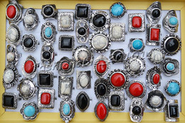 Wholesale Tibetan Silver Gemstone Jewelry - Rings Lots 25pcs large tibetan tribe assorted gemstone Silver tone ring Jewelry 17-19mm adjutable